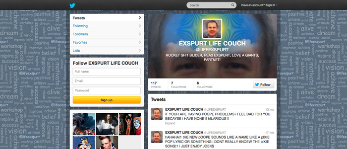 Screenshot of the @lifeexspurt Twitter page